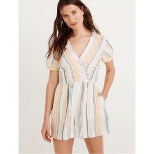 [madewell] NWT carnival stripe button-wrap romper